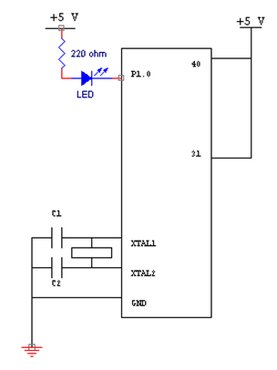 Figure 2: LED connected with 8051 Microcontroller
