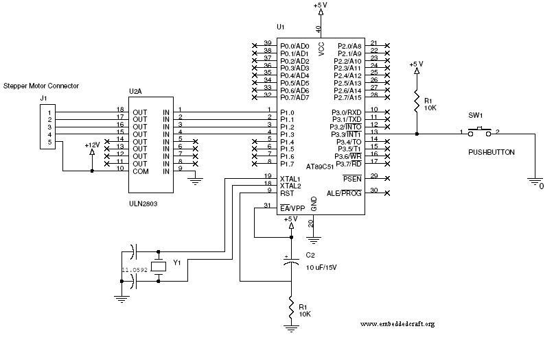 Circuit image of stepper moter and switch